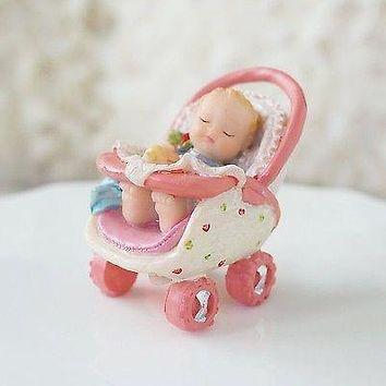 Precious Baby in Pink Stroller Figurine Baby Shower Decoration