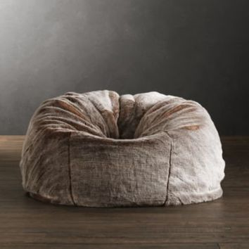 Grand Luxe Faux Fur Bean Bag Chair Lynx From Restoration