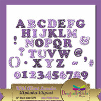 "80% OFF Sale WILD About Lavender Alphabet, 5""  Digital Scrapbooking, Instant Download, Printable, Commercial use, Patterns"