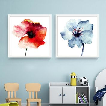 Modern Watercolor Minimalist Alpine Orchid Flowers Poster Prints Living Room Wall Art Picture Canvas Painting Home Decoration