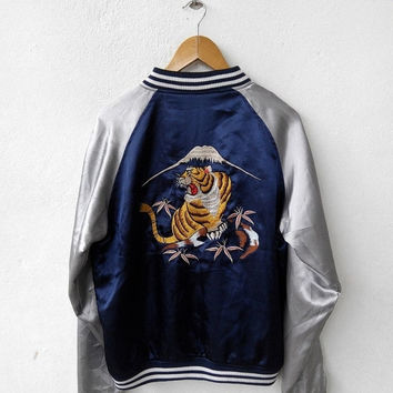 CRAZY SALE 25% SUKAJAN Yakuza Japan Vintage 80's Embroidery Tiger DragonTailor Toyo Embroidered Souvenir Reversible Satin Black Jacket M