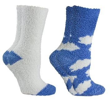 """Women's Non-Skid Warm Soft and Fuzzy Lavender Infused Slipper Socks, 2-Pair Pack With Lavender Sachet Gift, """"Clouds"""""""