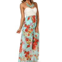 Sale-mint Floral Chiffon Maxi Dress