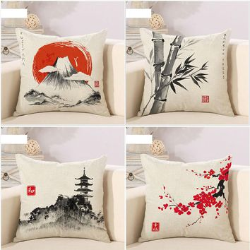 Collection Japanese Classic landscape Nature Great Art Painting Pillow  Cover Massager Decorative Pillows Home Decor Gift