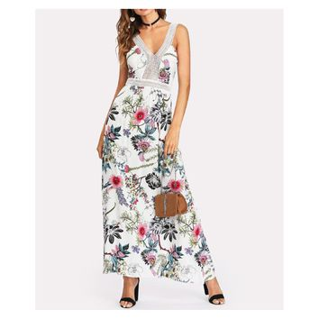 White Floral Sleeveless Crochet Lace Backless Maxi Dress