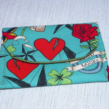 Tattoo Roses and Hearts Card Wallet Turquoise and Red
