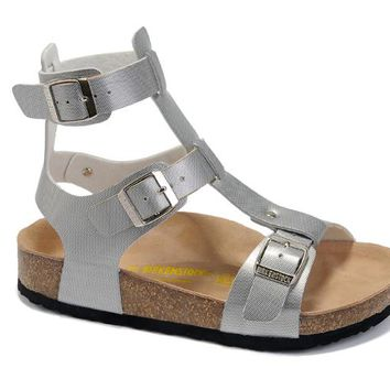 Birkenstock leather cork flats ladies casual sandals shoes soft insole slippers / silver