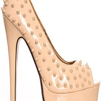 IVORY STUDDED DESIGN OPEN TOE PLATFORM 6 INCH HIGH HEEL