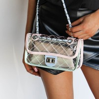 GAMEDAY Pink & Blue Clear Treasure Box Crossbody Bag