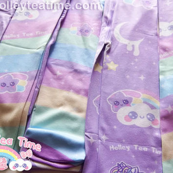 Rainbow Stardust  Tights fairy kei, pop kei, lolita, pastel, printed tights, kawaii, rainbow, shooting star, pony, unicorn