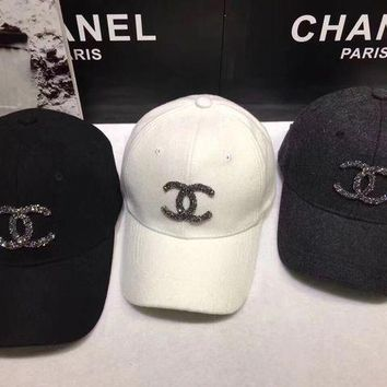 DCCK6HW Chanel' Women Casual Fashion Diamond Letter Logo Baseball Cap Flat Cap Sun Hat