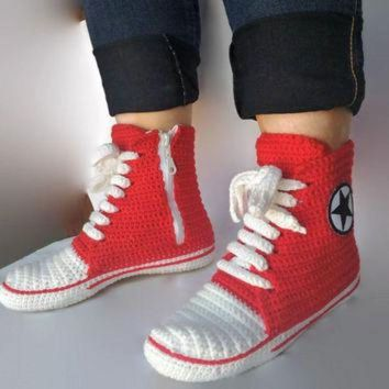 DCKL9 Red Converse Slippers, Crochet Red Converse. Women and Man Converse Shoes. Booties, Cr