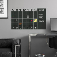 Chalkboard Wall Calender - Monthly Planner - use with Rewriteable Chalk Ink Pen - Modern day Wall Decal Sticker for Home and Office