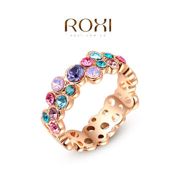 Fashion Colorful Austrian Crystal Ring Rose/White Gold Plated ROXI Brand Gift Jewelry for Women