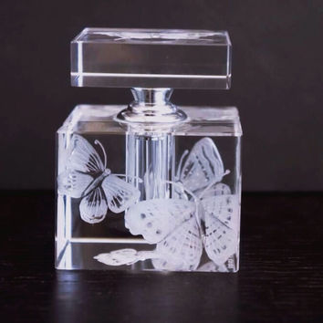 Square perfume bottle Hand Engraved with Butterflies