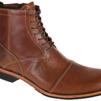 "Timberland Mens EK City 6"" Zip Boots Burnished Tan Leather 19558"
