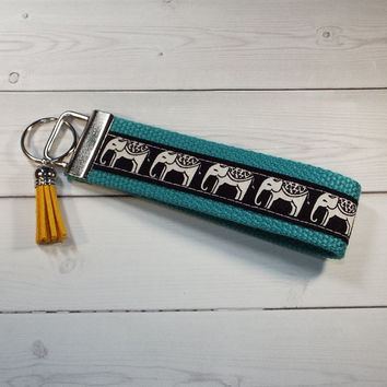 elephant Key FOB / KeyChain / Wristlet tassel - cream elephants on black - aqua