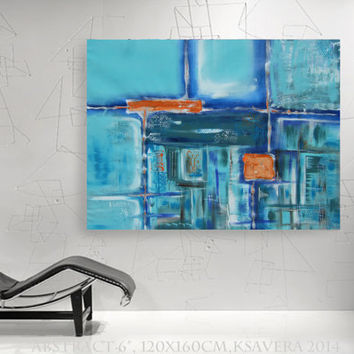 "abstract wall art Large Painting ""Abstract 6"" Modern Acrylic on canvas teal turquoise KSAVERA decor for Lounge office sleeping room bedroom"