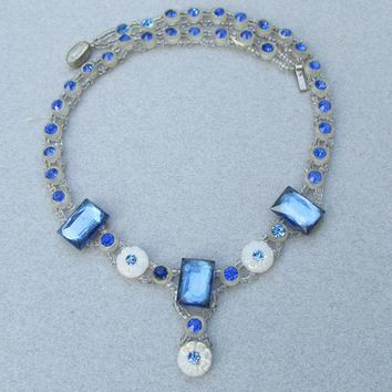 Stunning & Rare Czech Art Deco Sapphire Rhinestone & Molded White Flower Bead Vintage 1920's Flapper Choker Necklace