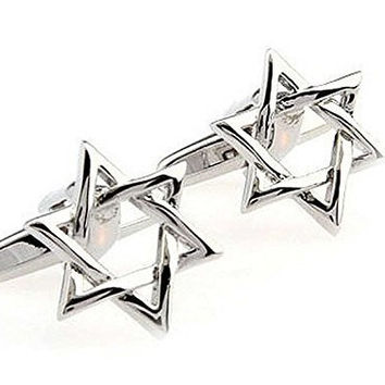 Basket Hill ,Star of David , Star in Silver Tone Cufflinks