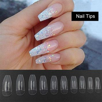 500PCS Long Ballerina Half Nail Tips Clear Coffin False Nails ABS Artificial DIY False Fake UV Gel Nail Art Tips High Quality