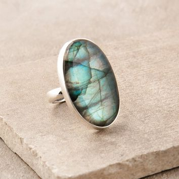 Blue Fire Labradorite Ring