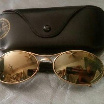 Gotopfashion GENUINE RAY BAN AVIATOR GOLD METAL FRAME SUNGLASSES W/ CASE
