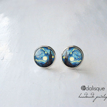 Handmade Starry Night Tiny Stud Earrings Vincent Van Gogh Post Earrings Art jewellery gift present  Silver 12 mm 14mm Impressionism Jewelry