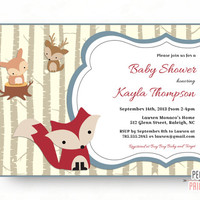 Woodland Baby Shower Invites - Woodland Baby Shower Invitation - Baby Boy Shower Invitation Printable - Forest Friends Baby Shower