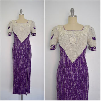 Vintage 1980s Neiman Marcus Purple & White Heavy Beaded Silk Evening Dress