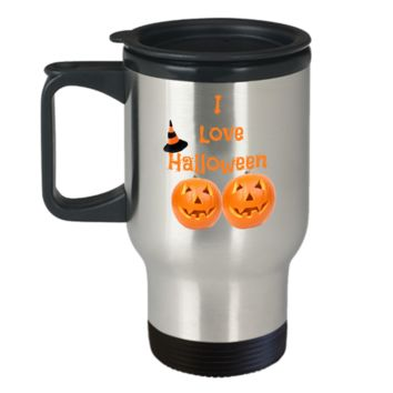 I Love Halloween Travel Coffee Mug Stainless Steel Gifts For Women Men Friends Fun Travel Cup