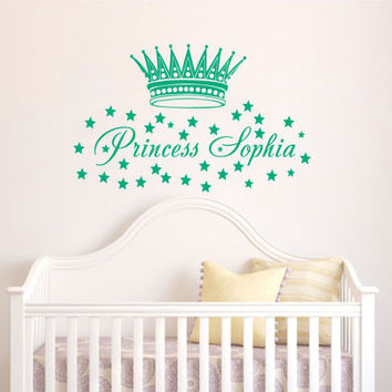 Childrens Decor Nursery Girls Wall Decals Vinyl Art Personalized Name Princess Crown Stars Custom Decal Unique Design for Any Room V469