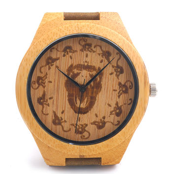 BOBO BIRD Mens Wooden Watch Engraved 12 Monkeys Bamboo Dial Leather Quartz Watch in Gift Box montre homme 2016