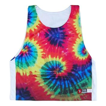 Tie Dye and White Sublimated Reversible Sublimated Lacrosse Pinnie