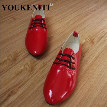Patent Leather Red Color Women Flat Shoes Plus Size New Casual Lace up Candy Colors St
