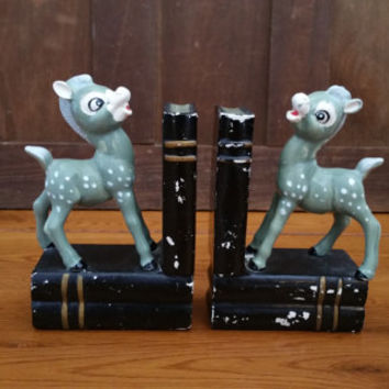 Vintage Ceramic Deer Fawn Book Ends Child's Room Nursery Library