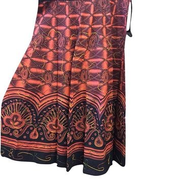 Womens Fashionable Skirt Orange Printed Gyspy Hippie Festive Skirts