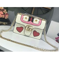 GUCCI 2018 new big retro peach heart square bag shoulder Messenger bag F-AGG-CZDL white