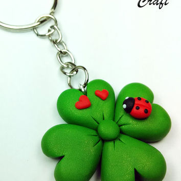 Four-leaf clover with Ladybug Keychain in Fimo