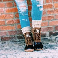 ONETOW Monogrammed Duck Boots, Fall Boots