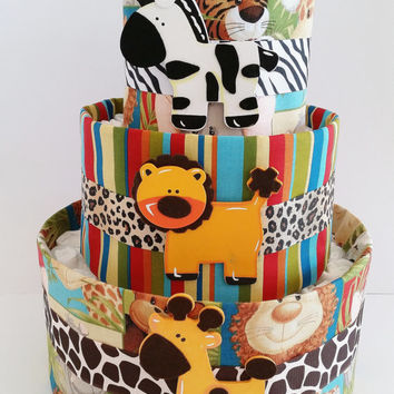 Jungle Animal Diaper Cake, Safari Diaper Cake, Baby Shower Gift, Baby Shower Center Piece, Baby Shower Decor