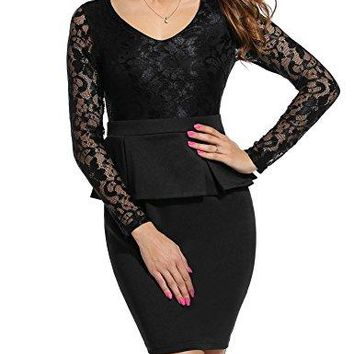 Angvns Women's V Neck Long Sleeve Floral Lace Business Pencil Dress Peplum Formal Office Dress
