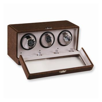 Brown Faux Leather 3-Turntable Watch Winder