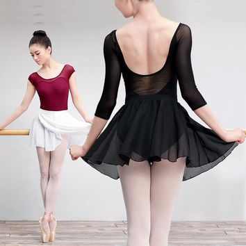 Adult Women Girls Children Chiffon Dance Skirt Ballet Tutu Gymnastics Skate Wrap Skirt Girls Basic Practice Ballet Skirt