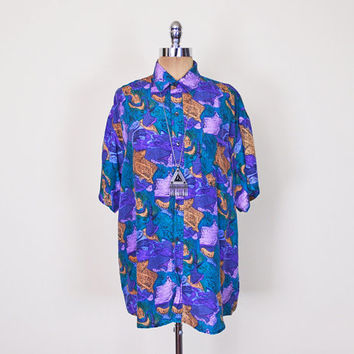 Purple Abstract Shirt Blouse Top Abstract Print Shirt 100% Silk Shirt Oversize Shirt Short Sleeve Button Up Shirt 80s 90s Men Women S M L XL