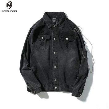 Men Fashion Casual Denim Jacket High Street Hip-hop Hole Zipper Sleeve Male Loose Jean Coat Outerwear