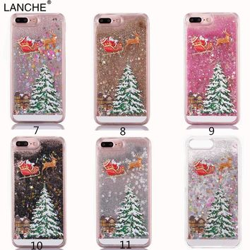 LANCHE XMAS Phone Case For iPhone 6 6s 7 8 Plus 5 5S SE X Case Christmas New Year Glitter Liquid Quicksand Hard PC Back Cover