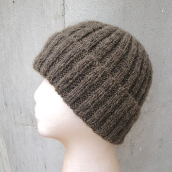 Alpaca Wool Hat, Hand Knit, Earthy Brown, Watch Cap, Beanie, Teens Men Women