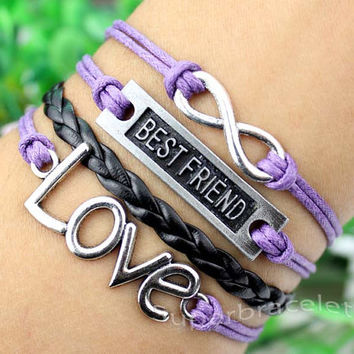 Friendship LOVE bracelet - silver infinity - best friend - mauve leather cord bracelet - gift for girlfriend and BFF