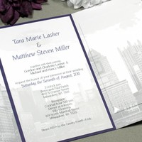Skyline Cityscape | Modern Wedding Invitation Suite by RunkPock Designs | Downtown Urban Custom Unique Folded Invitation Design | shown in gray and dark purple